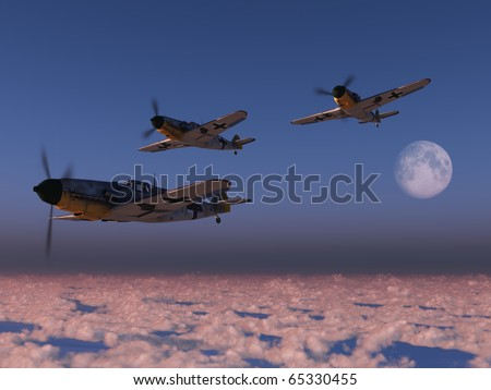 High altitude WWII fighter planes - stock photo
