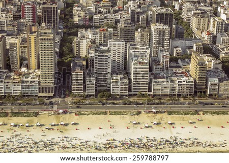 High angle aerial view of Ipanema Beach in Rio de Janeiro,Brazil - vintage colors - stock photo