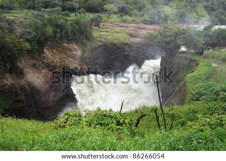 high angle detail of the Murchison Falls in Uganda (Africa) - stock photo
