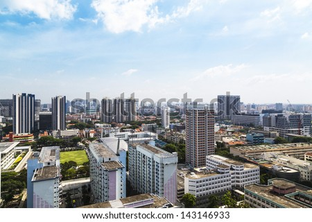 High angle horizontal view of an old crowded residential district in Singapore. - stock photo