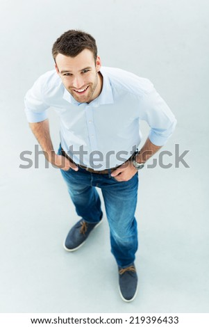 High angle of young man standing  - stock photo