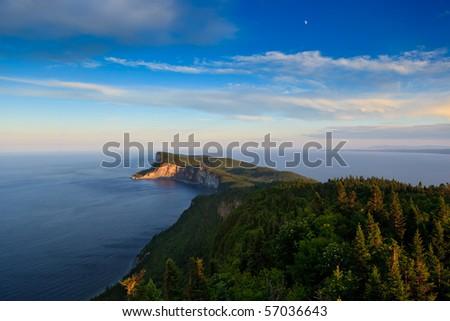 High angle shoot of Cap Bon Ami peninsula in Forillon National Park. - stock photo
