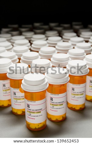 High angle shot of mass amount of prescription pills - stock photo