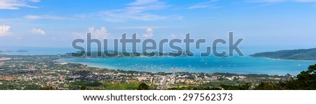 High angle view beautiful panorama landscape of Ao Chalong bay and city sea side in Phuket Province, Thailand - stock photo
