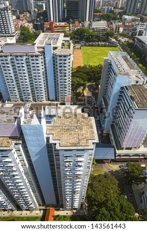 High angle view of an old crowded residential district in Singapore. - stock photo