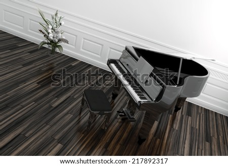 High angle view of an open grand piano with a view of the keyboard on a wooden parquet floor in a white paneled room with potted plant - stock photo
