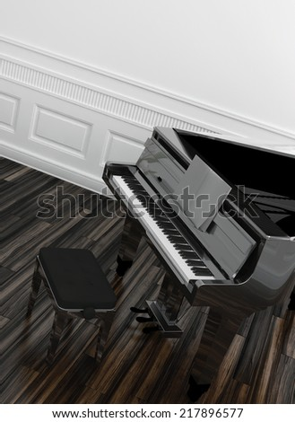 High angle view of an open grand piano with a view of the keyboard on a wooden parquet floor in a white paneled room - stock photo