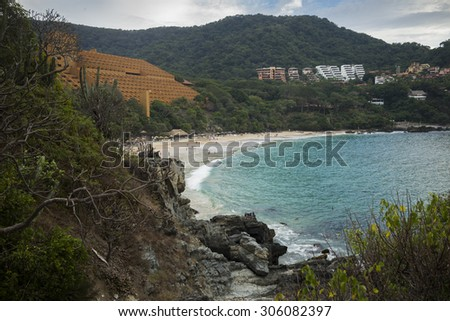 High angle view of beach, Ixtapa, Guerrero, Mexico - stock photo