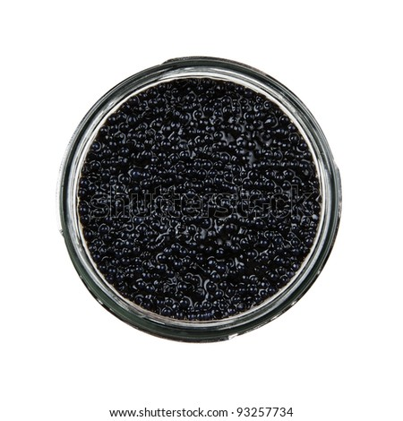 High angle view of black caviar isolate on white background - stock photo