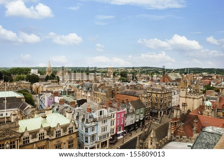 High angle view of buildings in a city, Oxford, Oxfordshire, England - stock photo