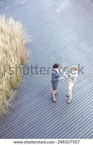 High angle view of businesswomen discussing on floorboard - stock photo