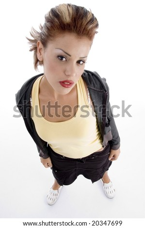 high angle view of glamorous woman against white background - stock photo