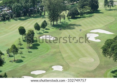 High angle view of golf resort - stock photo