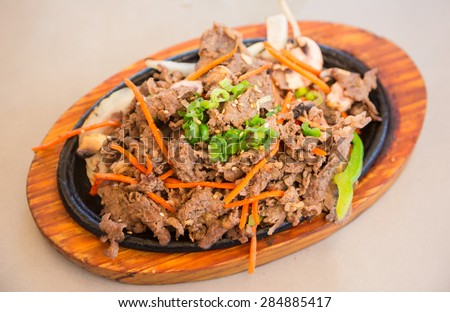 High angle view of Korean BBQ beef - stock photo