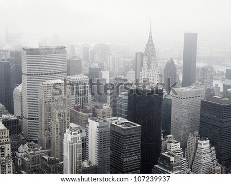 High angle view of Manhattan skyline - stock photo