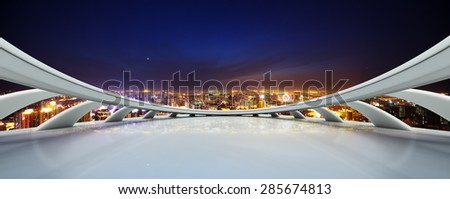 High angle view of modern skyline from View deck at night,created with C4D. - stock photo