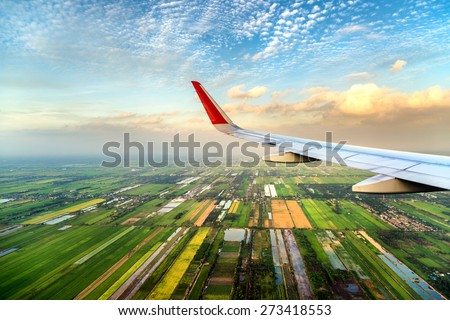 high angle view of pathum thani city of thailand on the air plane - stock photo