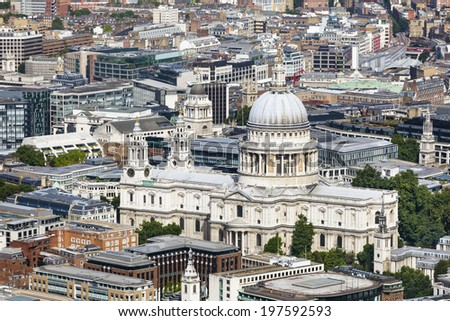 High angle view of St. Paul's Cathedral in London - stock photo