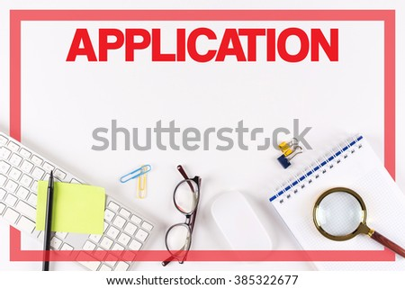 High Angle View of Various Office Supplies on Desk with a word ADMIN - stock photo
