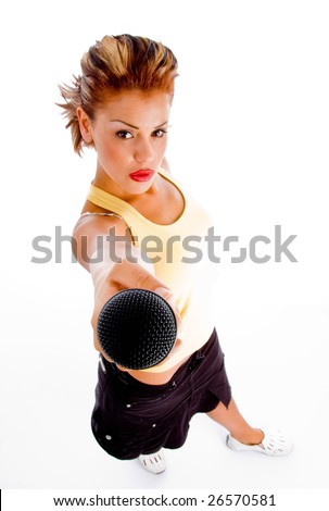 high angle view of woman with microphone on an isolated background - stock photo