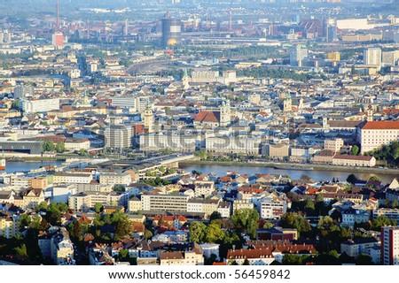 High Angle View on Linz - stock photo