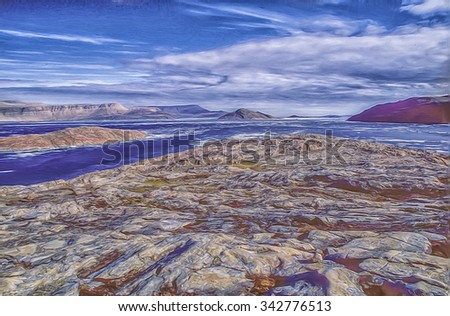 High Arctic scene,digital oil painting HDR style - stock photo