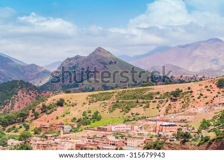High Atlas mountains, Morocco (between Marrakesh and Tizi-n-Tichka pass) - stock photo