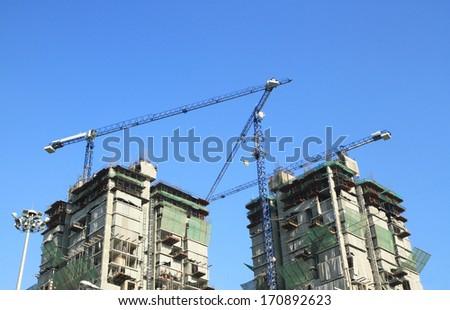 High building construction  - stock photo