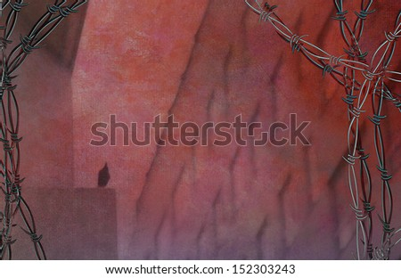High Building with windows and sillouette of bird with barbed wire - stock photo