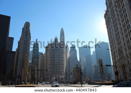 High buildings at Chicago city - stock photo