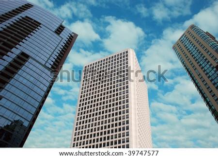 High buildings reaching sky - stock photo