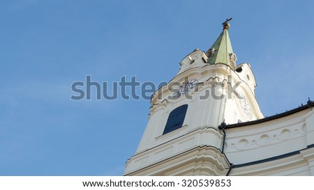 High Church Tower with Clear Blue Sky - stock photo