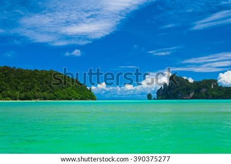 High Cliff Lagoon Mountains  - stock photo