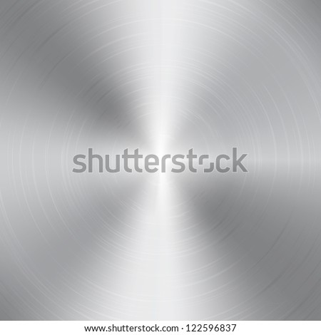 High contrast circular brushed aluminum texture - stock photo