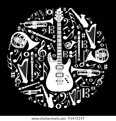 High contrast music instruments silhouette in circle shape. - stock photo