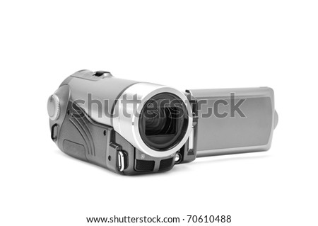 high-definition camera isolated on a white background - stock photo