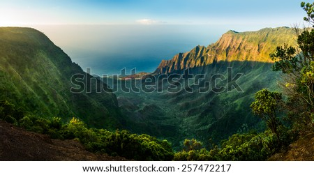 High definition panorama over Kalalau Valley as sunset taken in HDR at Kalalau, Kauai, Hawaii - stock photo