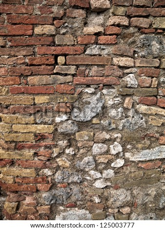 High definition photograph of a ancient worn wall in Europe - stock photo