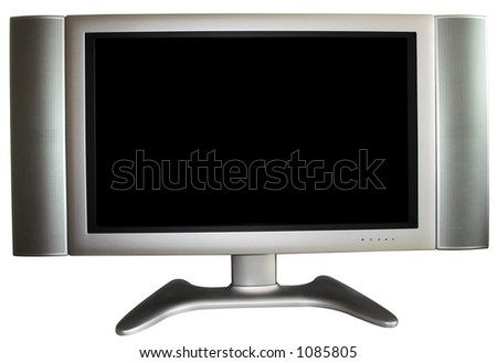 High-Definition TV with black screen - stock photo