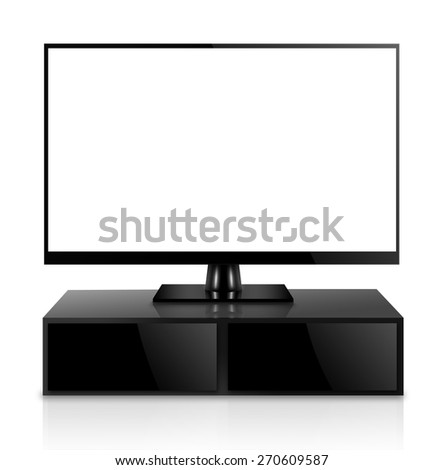 High Definition TV with TV stand - stock photo
