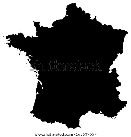 High detailed black illustration map - France - stock photo