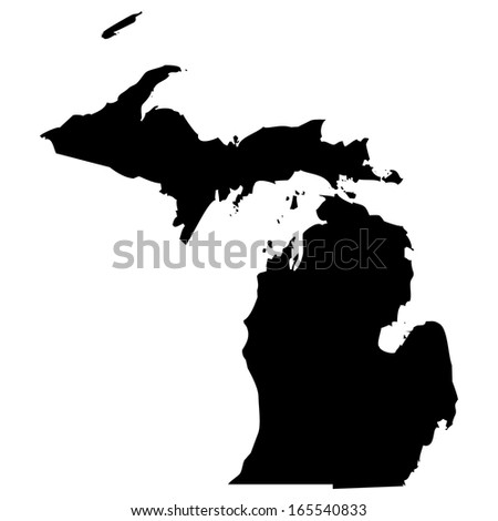High detailed black illustration map - Michigan - stock photo