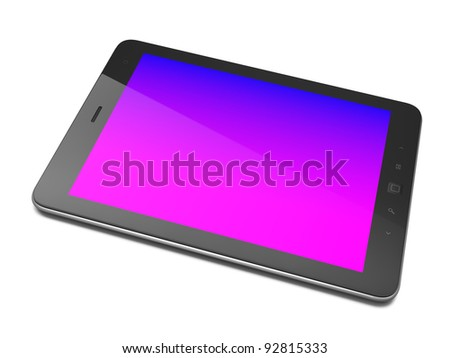 High-detailed black tablet computer with colored screen. Tablet pc  on white background, 3d render - stock photo