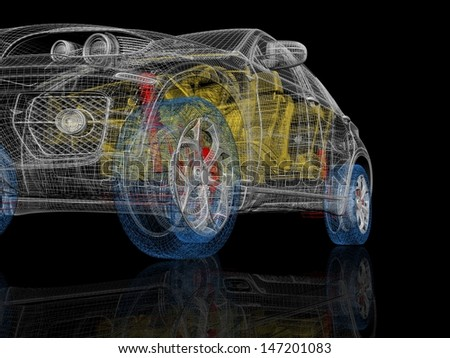 High detailed 3d car model. Multicolor car parts - stock photo