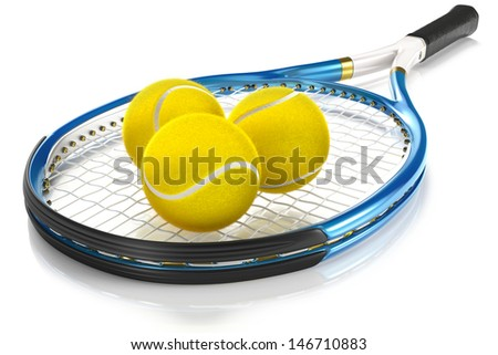 High detailed 3D tennis racket isolated on white reflective background with 3 tennis balls - stock photo