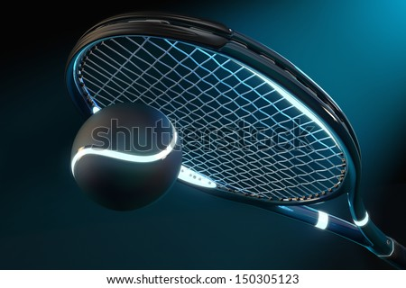 High detailed 3D tennis racket with light source parts and a tennis ball on a dark background with blue futuristic style - stock photo