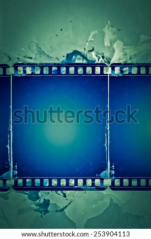 High detailed grunge film frame with space for your text or image. - stock photo