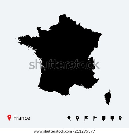 High detailed map of France with navigation pins. - stock photo