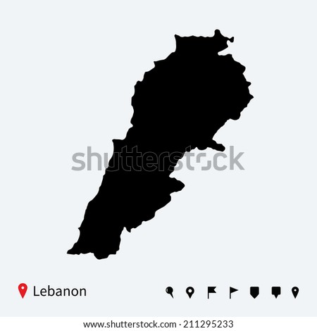High detailed map of Lebanon with navigation pins. - stock photo
