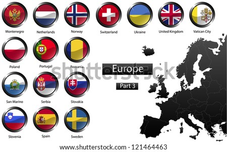 High detailed national flags of European countries, clipped in round shape glossy metal buttons, part 3, raster version - stock photo